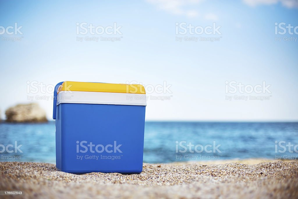 Cooler box on the beach stock photo