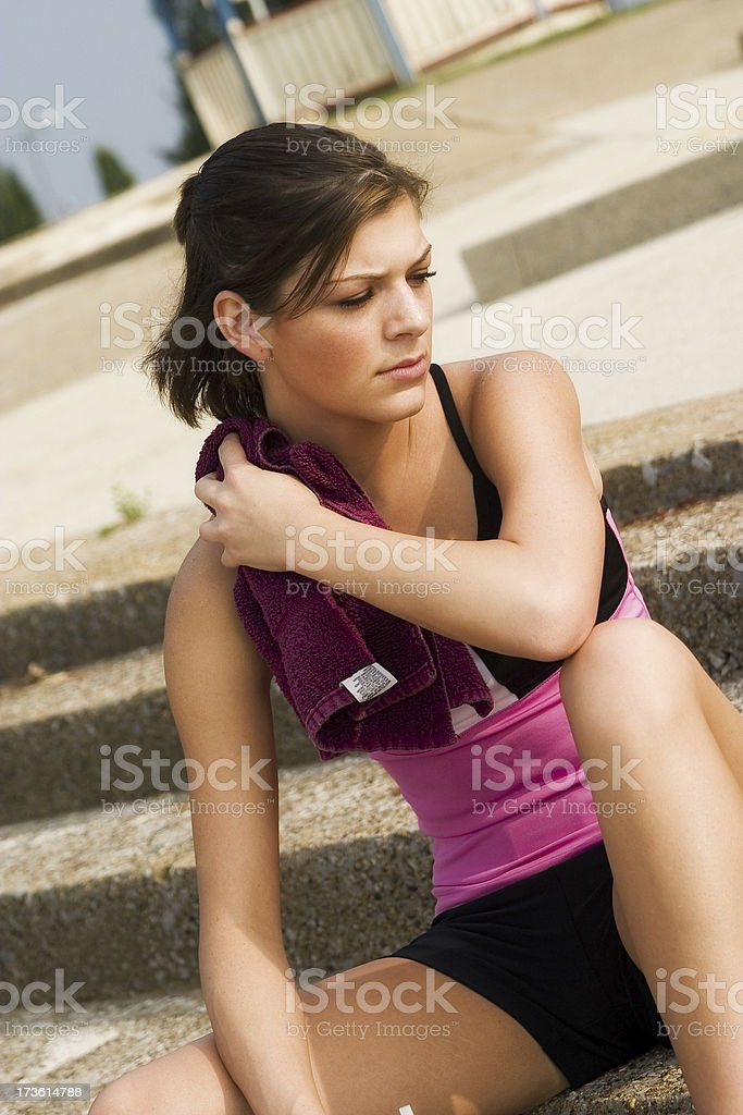 Cooling down from workout stock photo