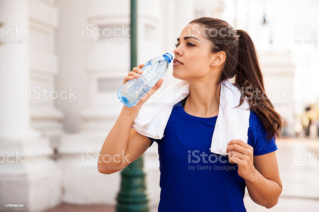Cooling down with some water stock photo