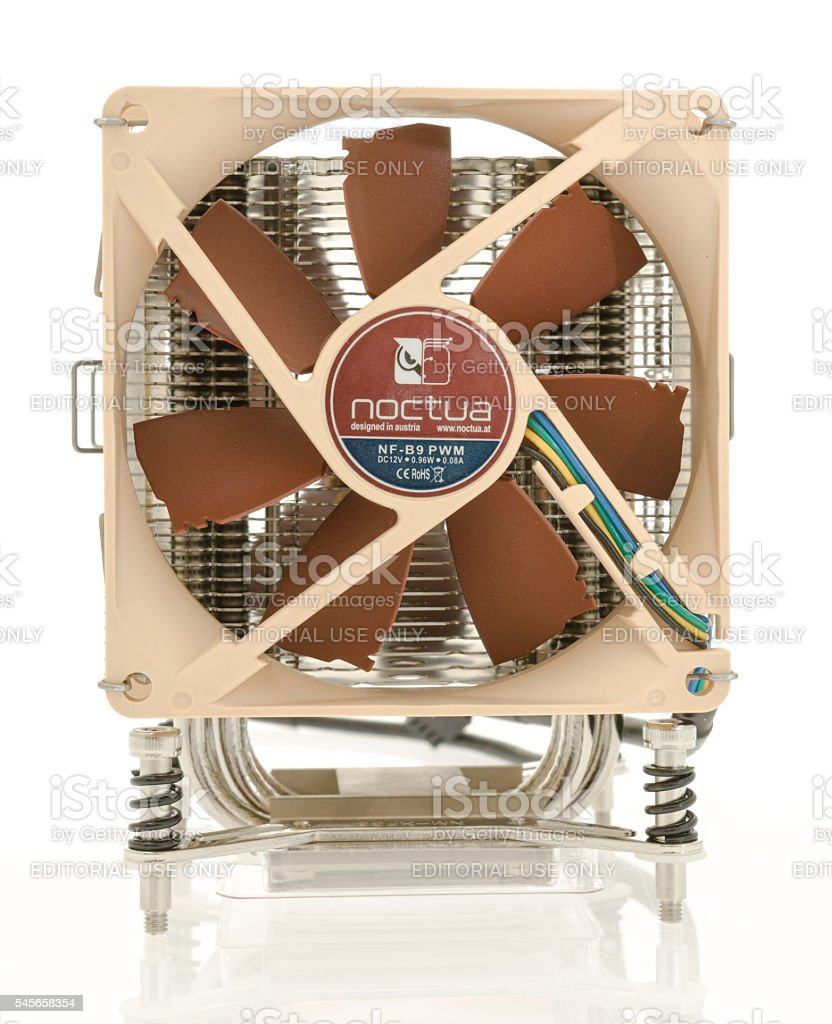A Noctua fan and heat sink on an isolated background.