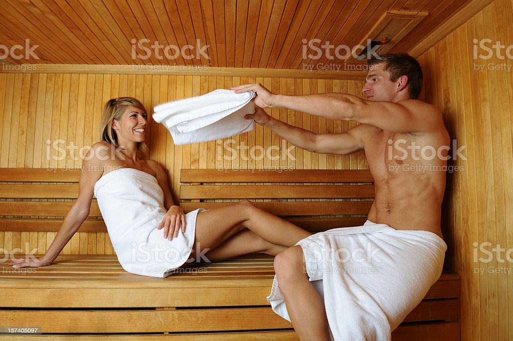 Cooling in sauna royalty-free stock photo