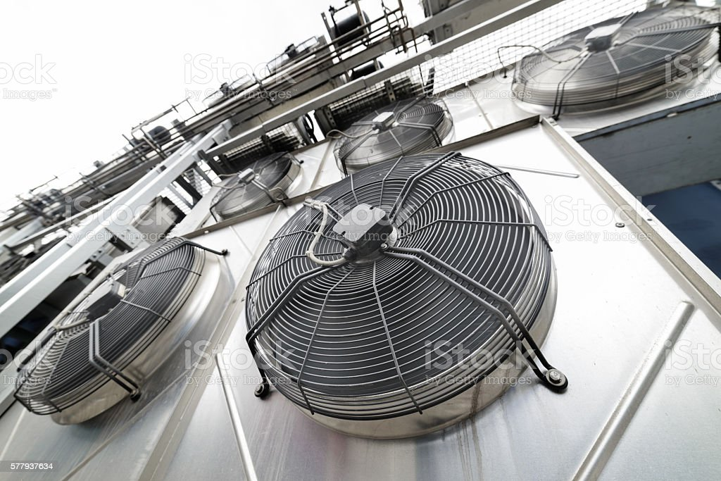 Cooling industrial air conditioning units closeup. stock photo