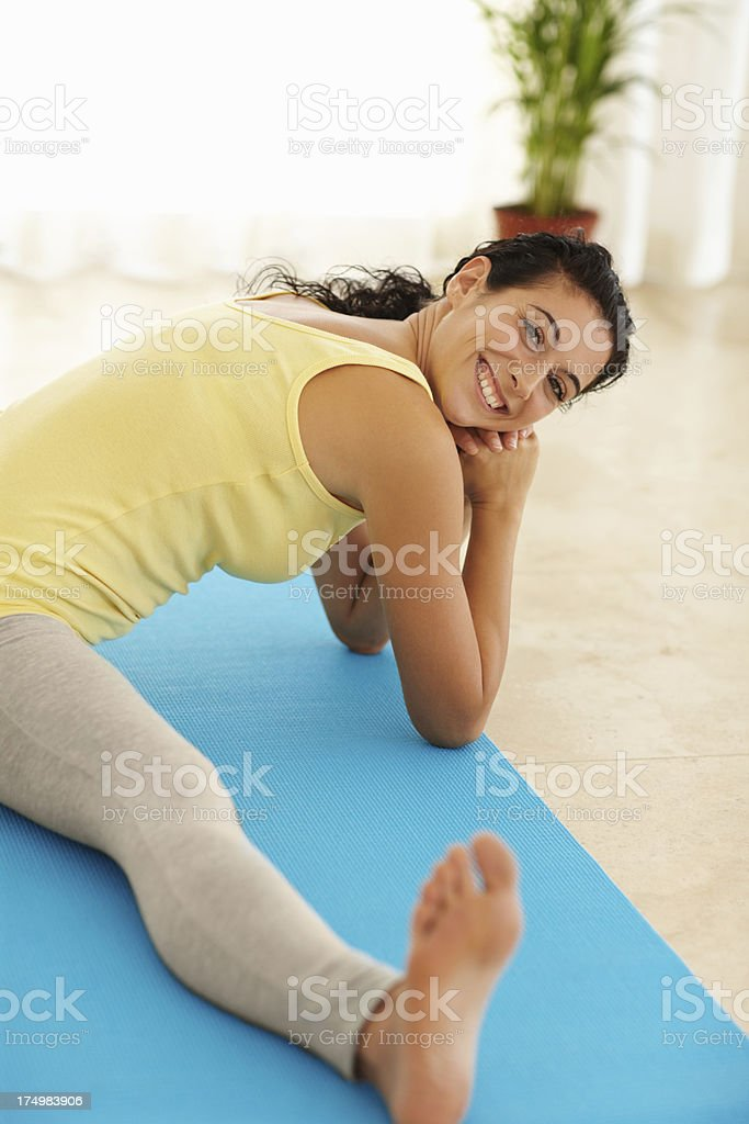 Cooling off with a few stretches royalty-free stock photo
