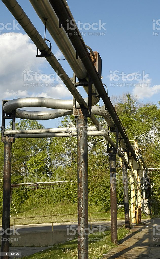 Cooling Pipes at Industrial Complex stock photo