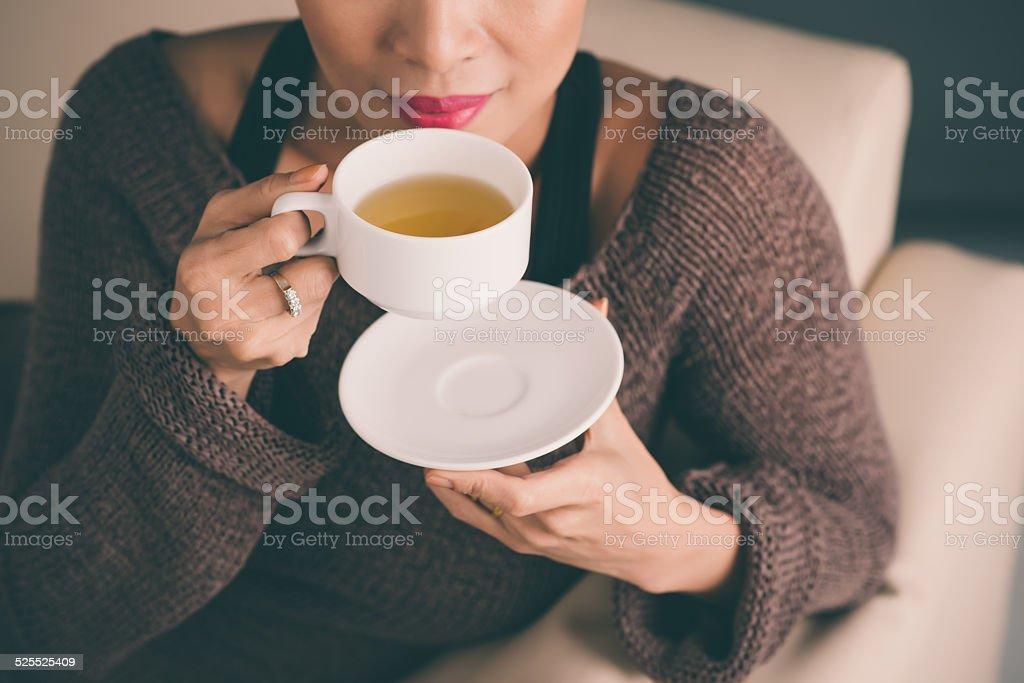 Cooling tea stock photo