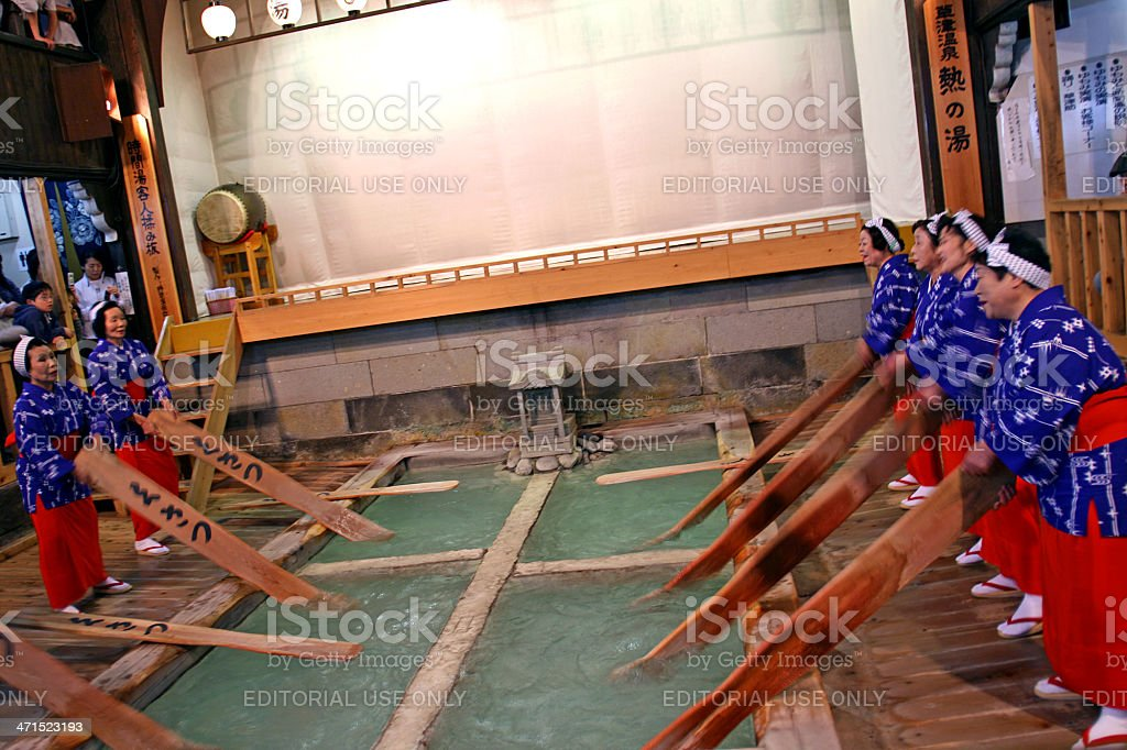 Cooling the water in japanese traditional spa - onsen stock photo
