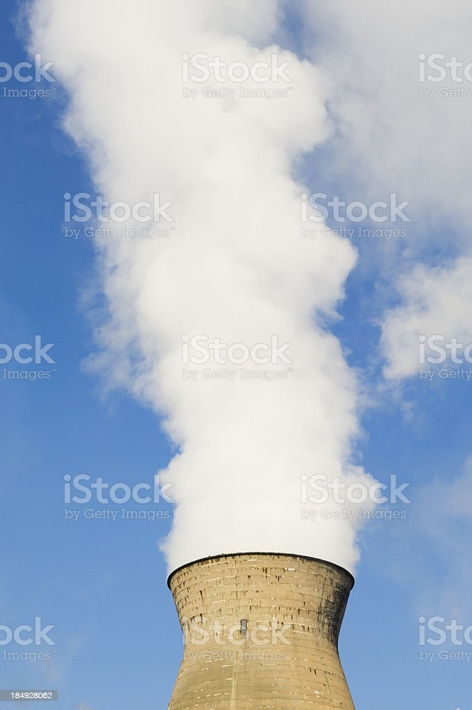 Cooling tower and pollution stock photo