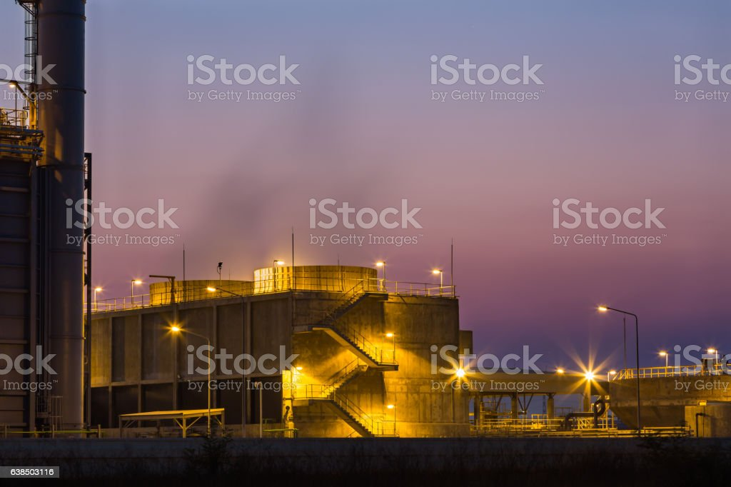 Cooling tower at twilight stock photo
