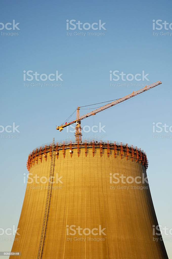 Cooling tower of a power plant under construction stock photo