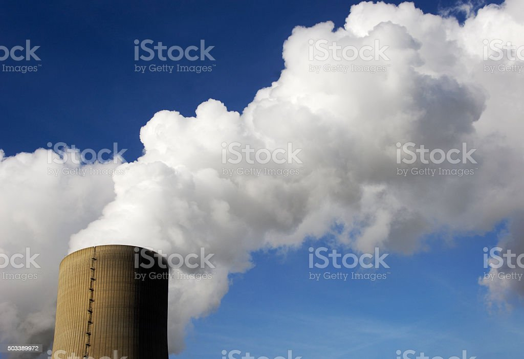 Cooling tower of a power station stock photo