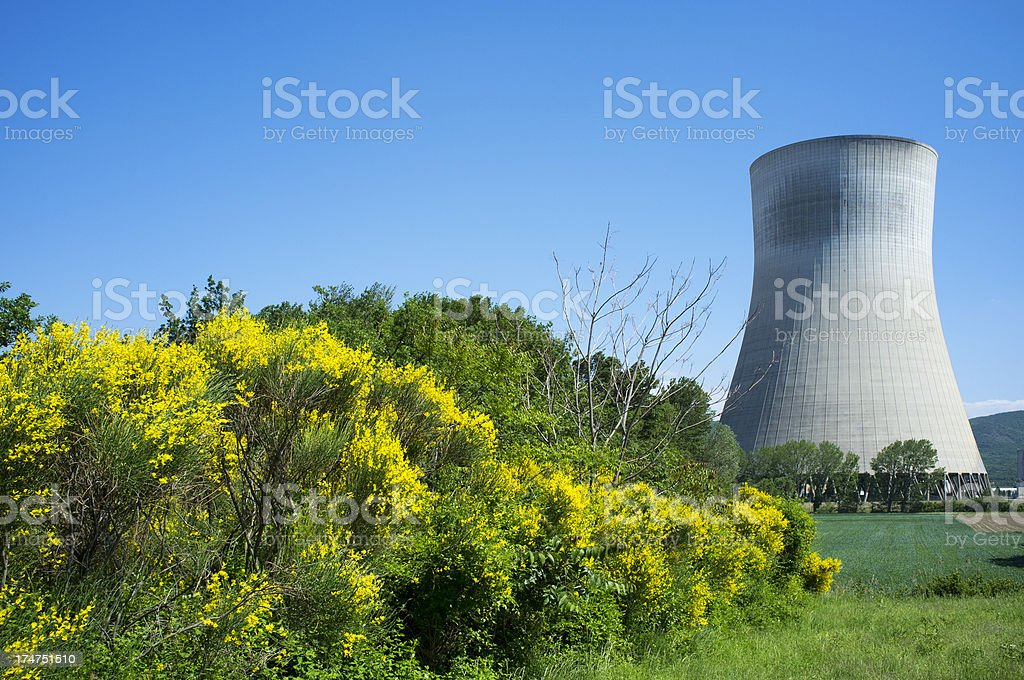 Cooling tower of nuclear plant stock photo