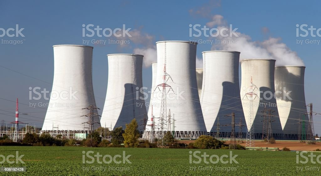 Cooling tower of Nuclear power plant Jaslovske Bohunice - Slovakia stock photo