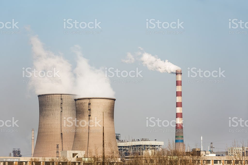 cooling tower of power plant stock photo