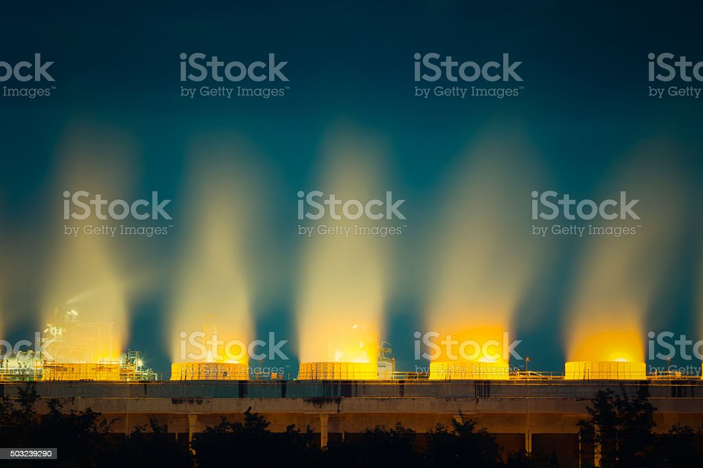 Cooling tower twilight stock photo