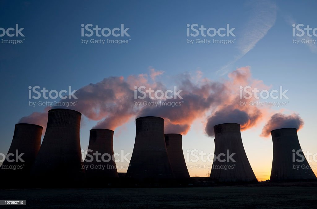 Cooling towers at a coal fueled power station. royalty-free stock photo