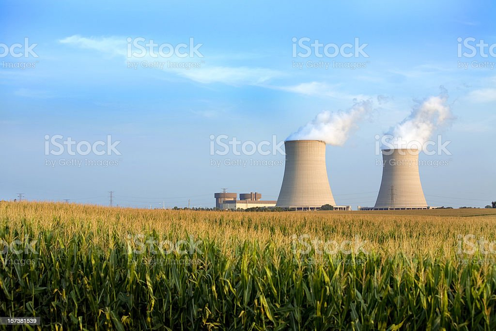 cooling towers byron IL stock photo