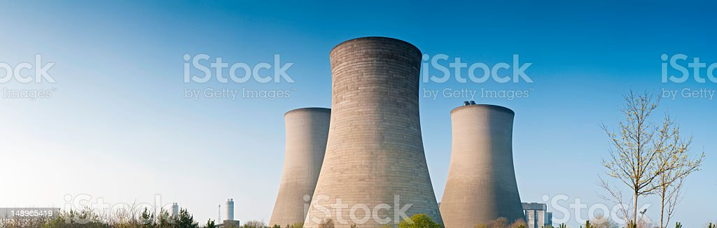 Cooling towers clear blue skies panorama royalty-free stock photo