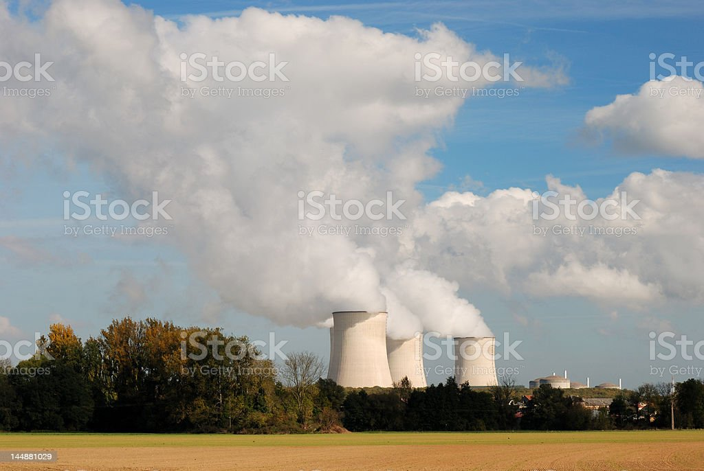 Cooling towers of an atomic power plant royalty-free stock photo