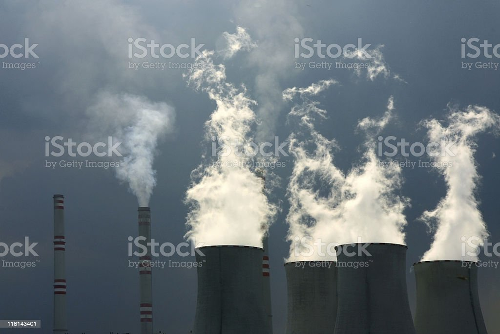 cooling towers of nuclear power plant royalty-free stock photo