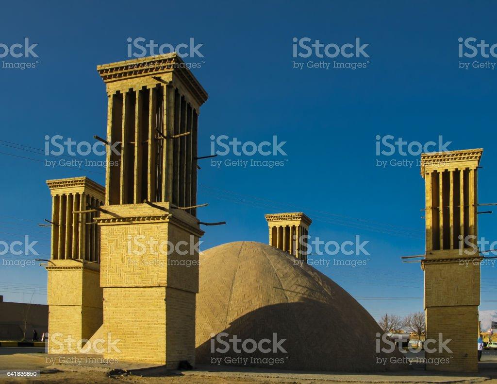 Cooling wind tower, Yazd, Iran stock photo