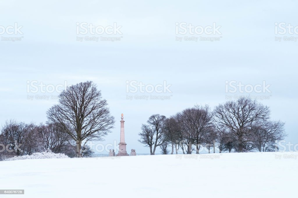 Coombe Hill Monument in the snow stock photo