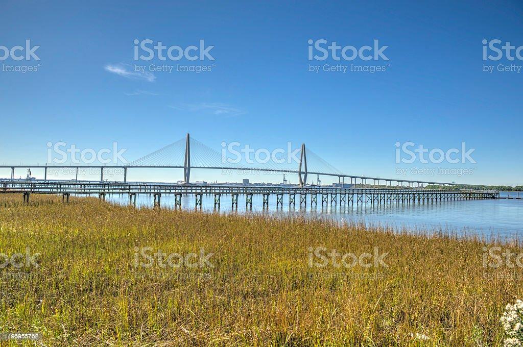 Cooper River Bridge Entire stock photo
