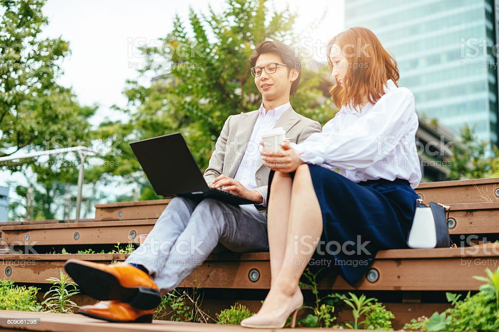 Cooperation and mentorship in business stock photo