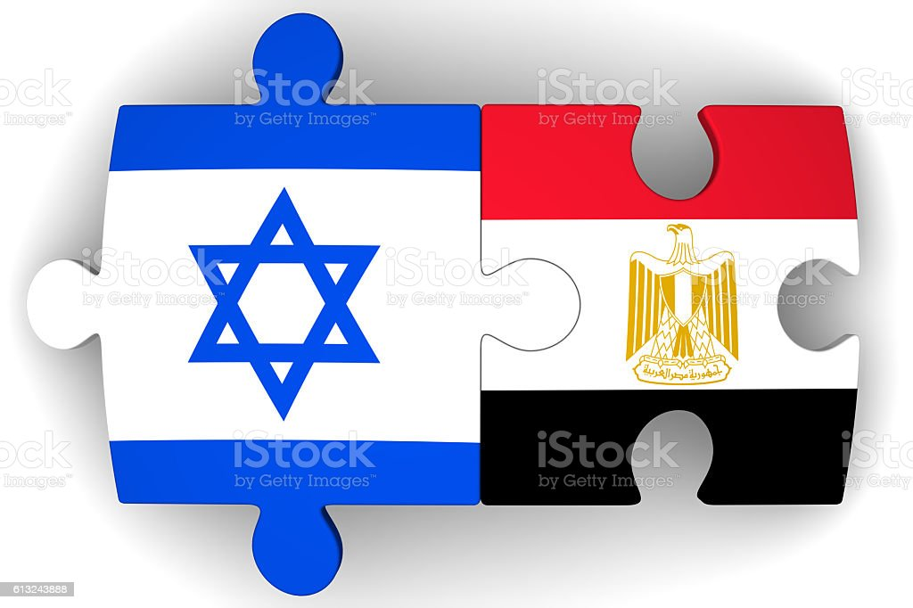 Cooperation between Israel and Egypt. Concept stock photo