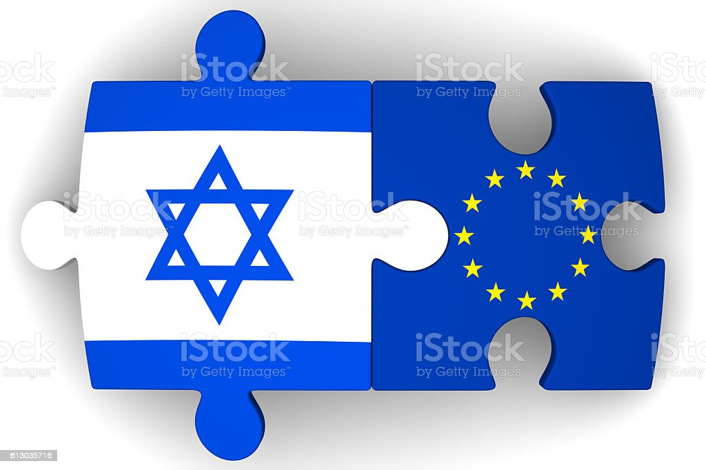 Cooperation between the European Union and Israel. Concept stock photo