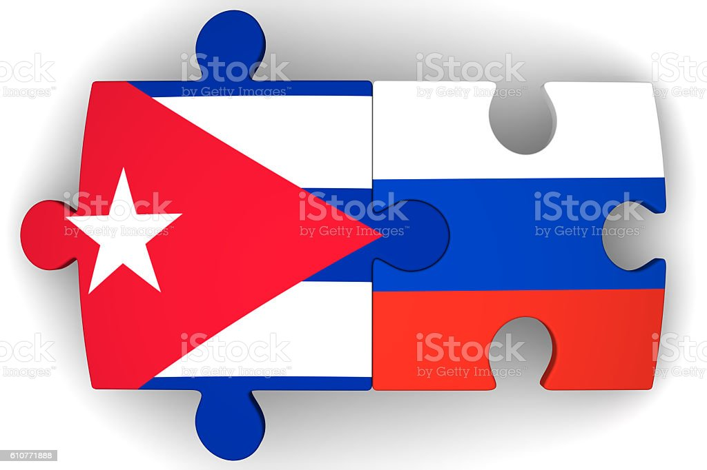 Cooperation between the Russian Federation and Cuba. Concept stock photo