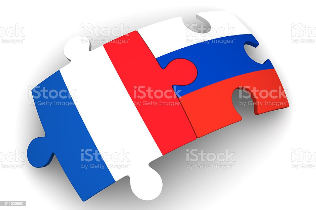 Cooperation between the Russian Federation and France. Concept stock photo