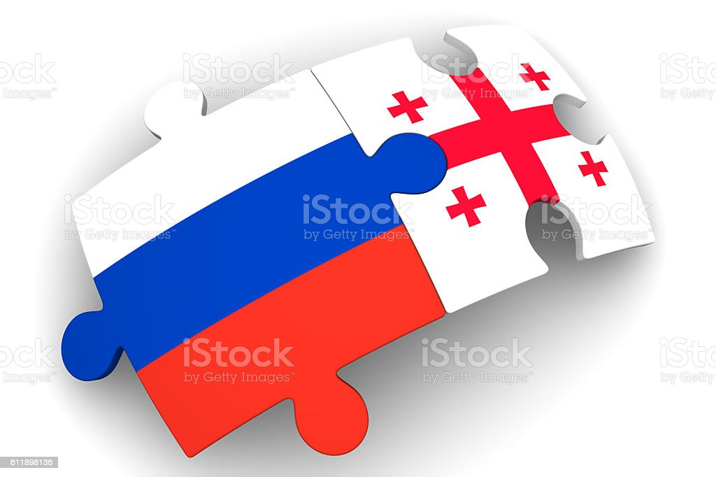 Cooperation between the Russian Federation and Georgia. Concept stock photo