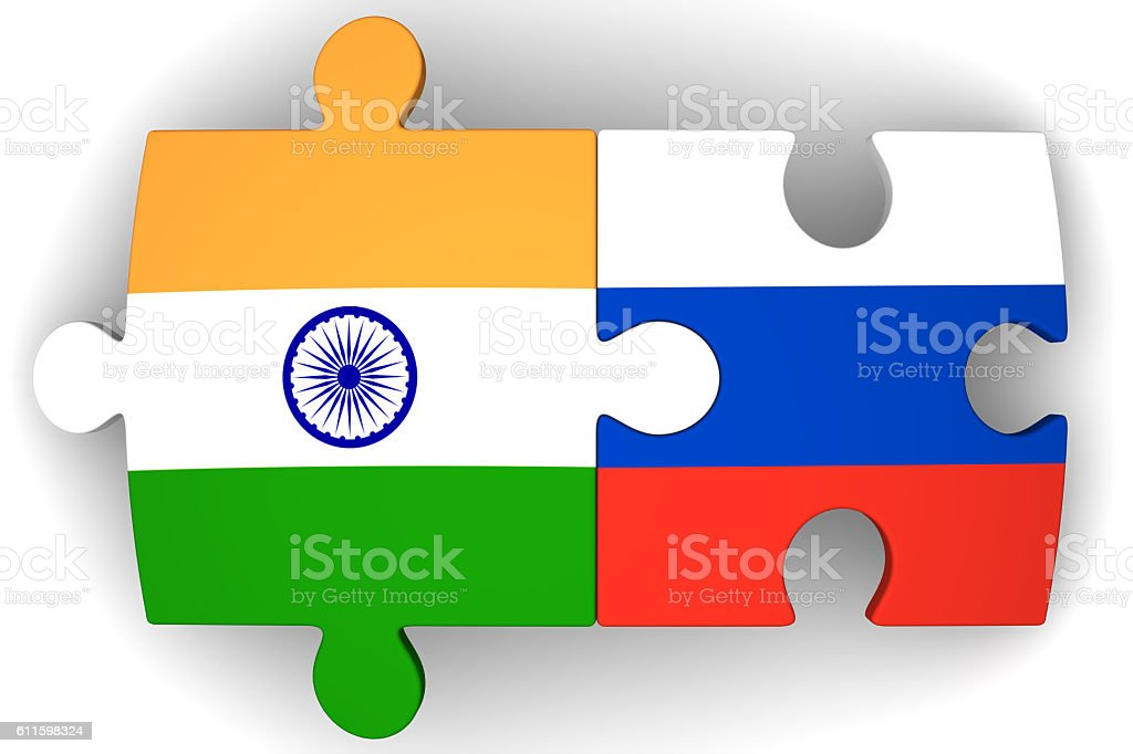 Cooperation between the Russian Federation and India. Concept stock photo
