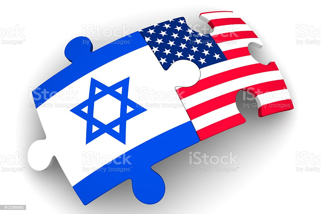 Cooperation between the United States of America and Israel. Concept stock photo