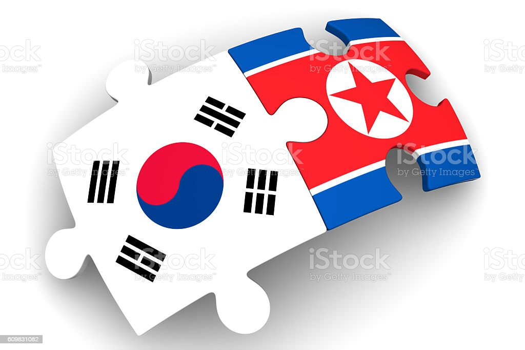 Cooperation South Korea and North Korea. Concept stock photo