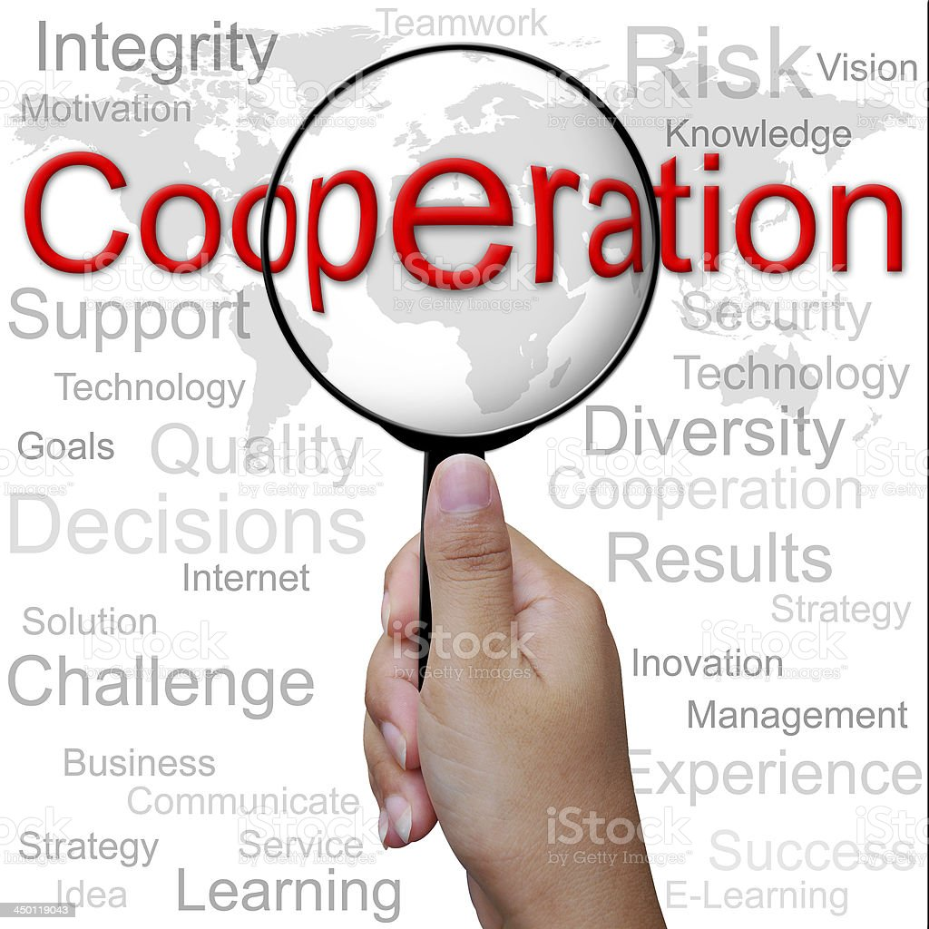 Cooperation, word in Magnifying glass ,business background royalty-free stock photo
