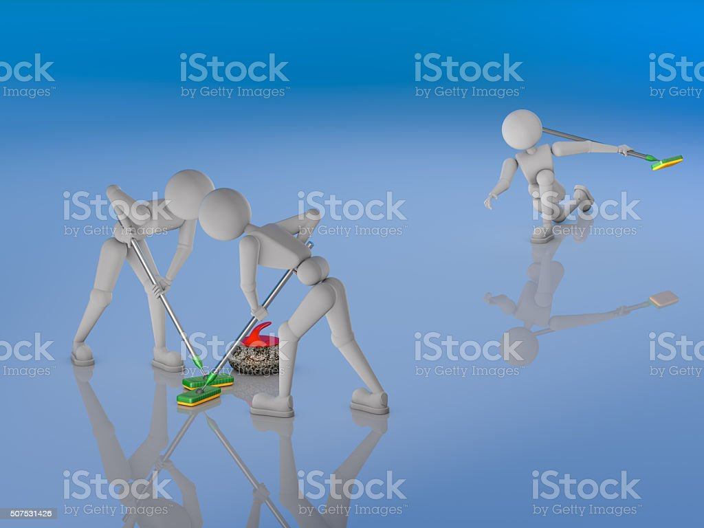 coordinated work team in curlers stock photo