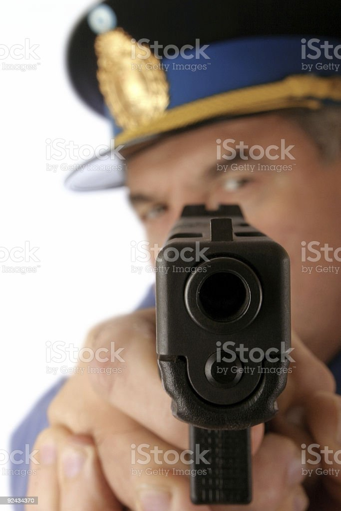 Cop is shooting you 4 stock photo