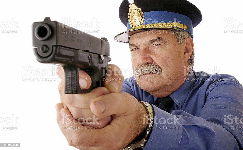 Cop is shooting you 5 stock photo