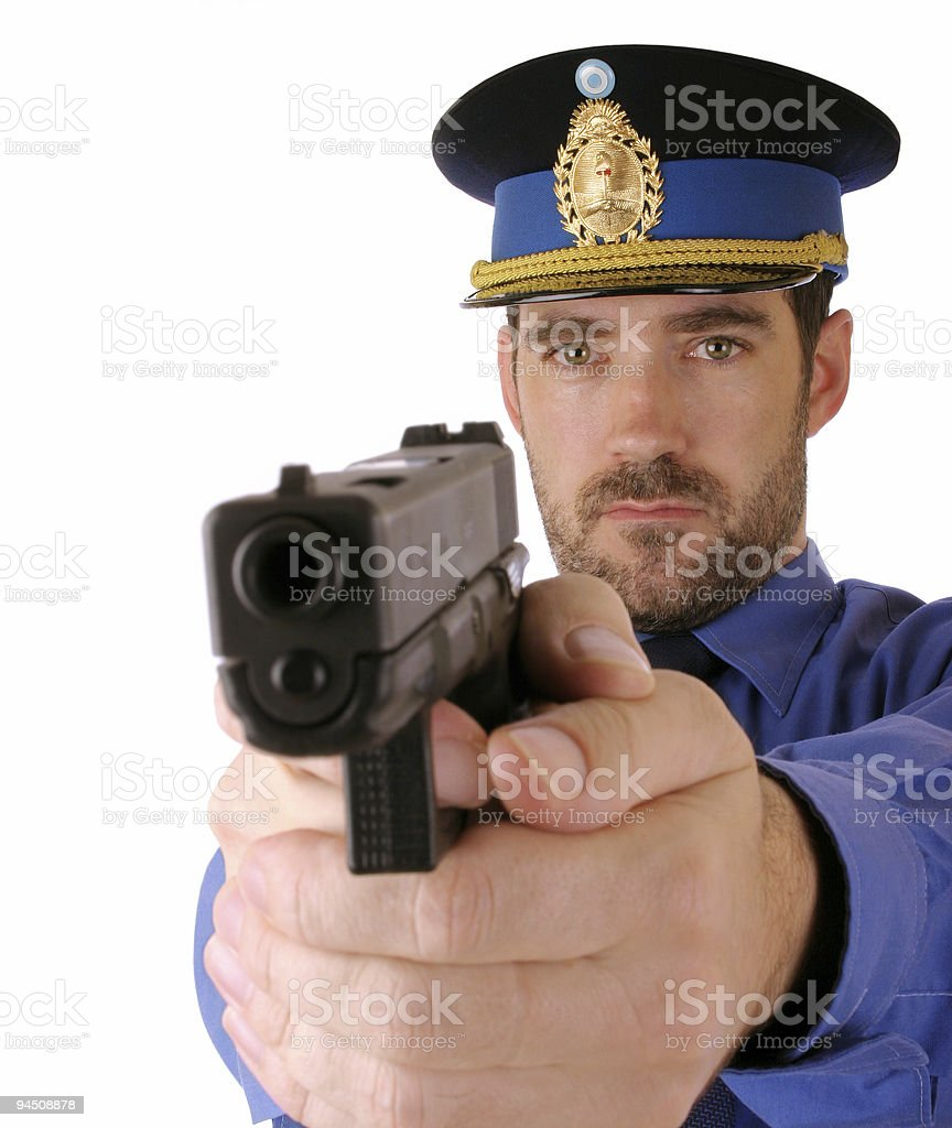 Cop pointing a gun at you 7 stock photo