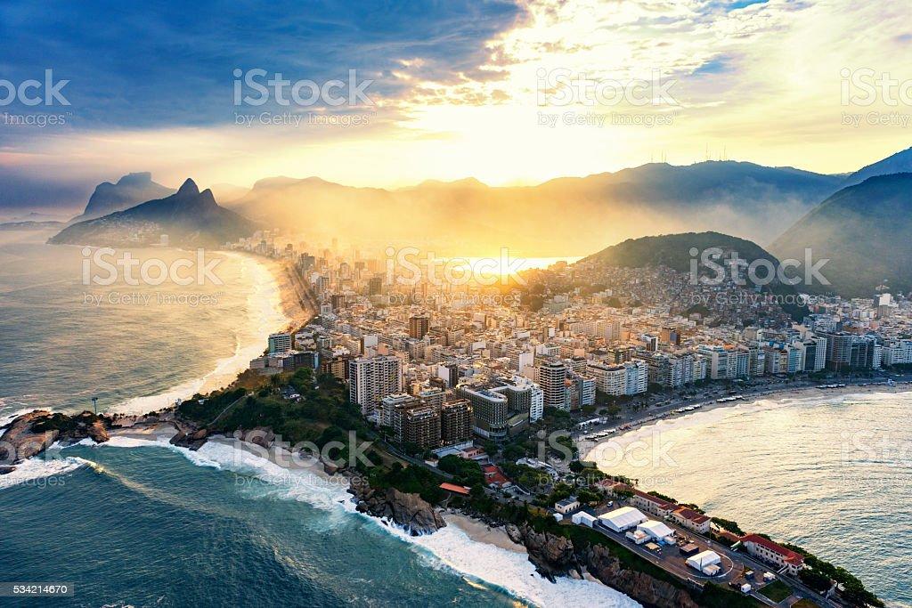 Copacabana and Ipanema beaches in Rio De Janeiro. stock photo
