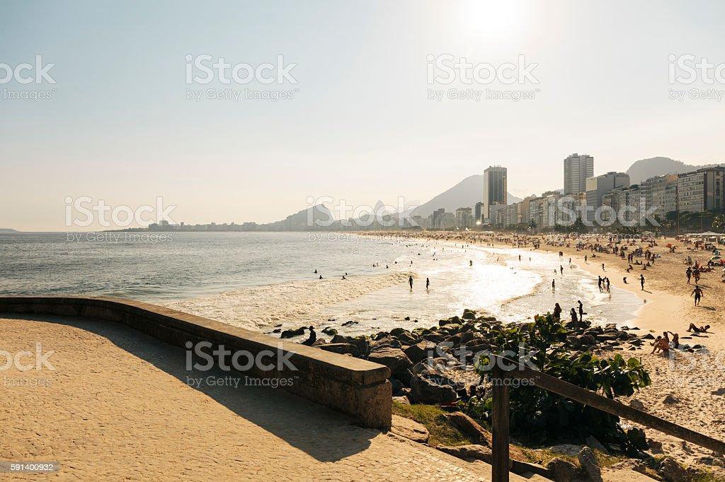 Copacabana and Leme Beach, Rio de Janeiro, Brazil stock photo