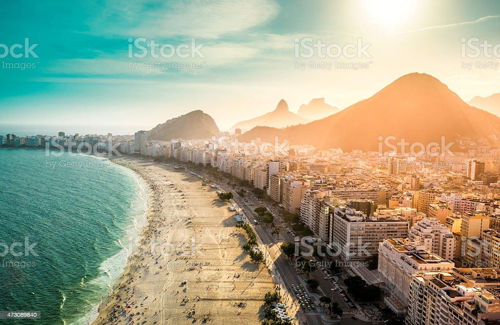 Copacabana area of Rio De Janeiro as seen from above stock photo