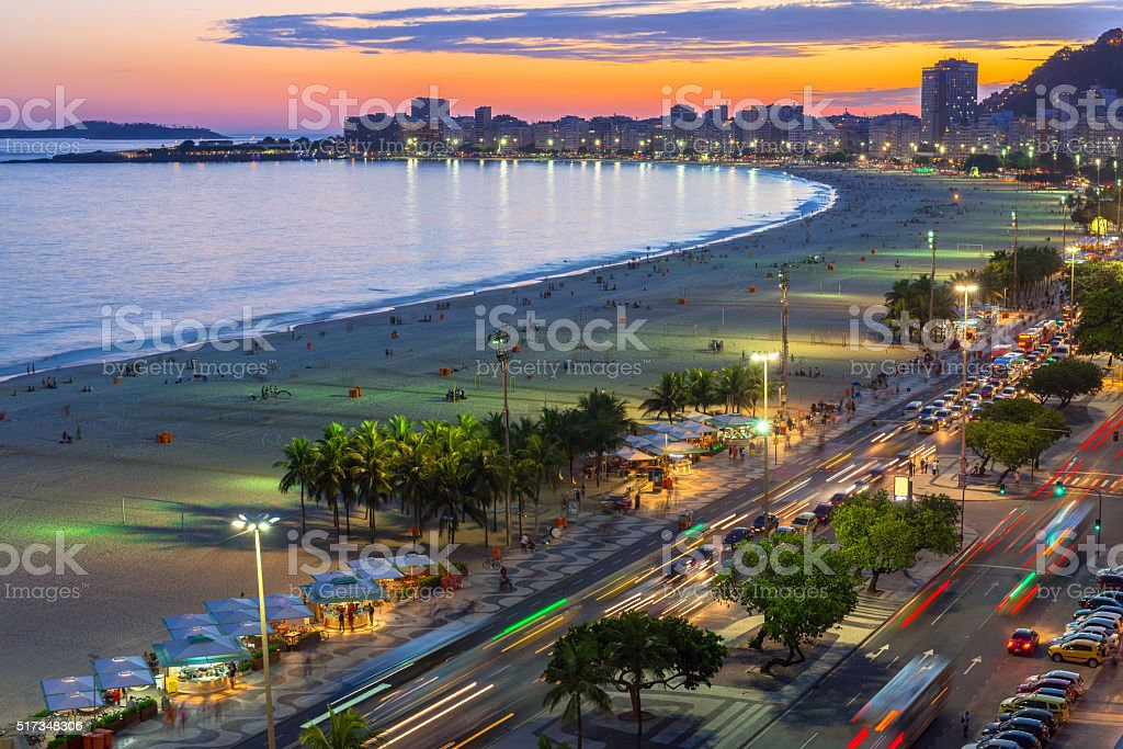 Copacabana beach and Avenida Atlantica in Rio de Janeiro, Brazil stock photo