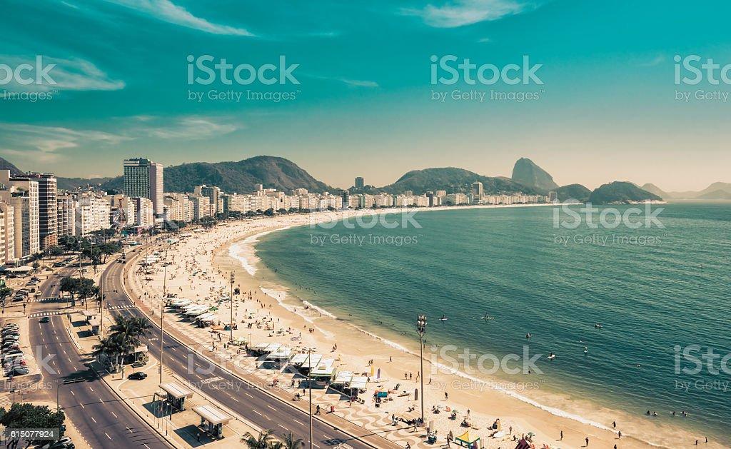Copacabana Beach and Sugar Loaf Mountain in Rio de Janeiro stock photo