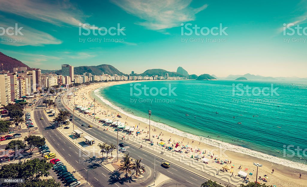 Copacabana Beach and Sugar Loaf Mountain, Rio de Janeiro stock photo