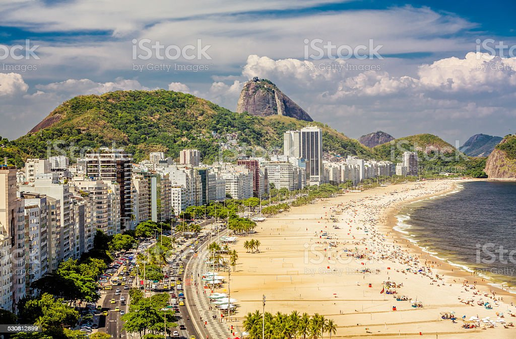 Copacabana Beach and Sugar Loaf Mountain,Rio de Janeiro stock photo