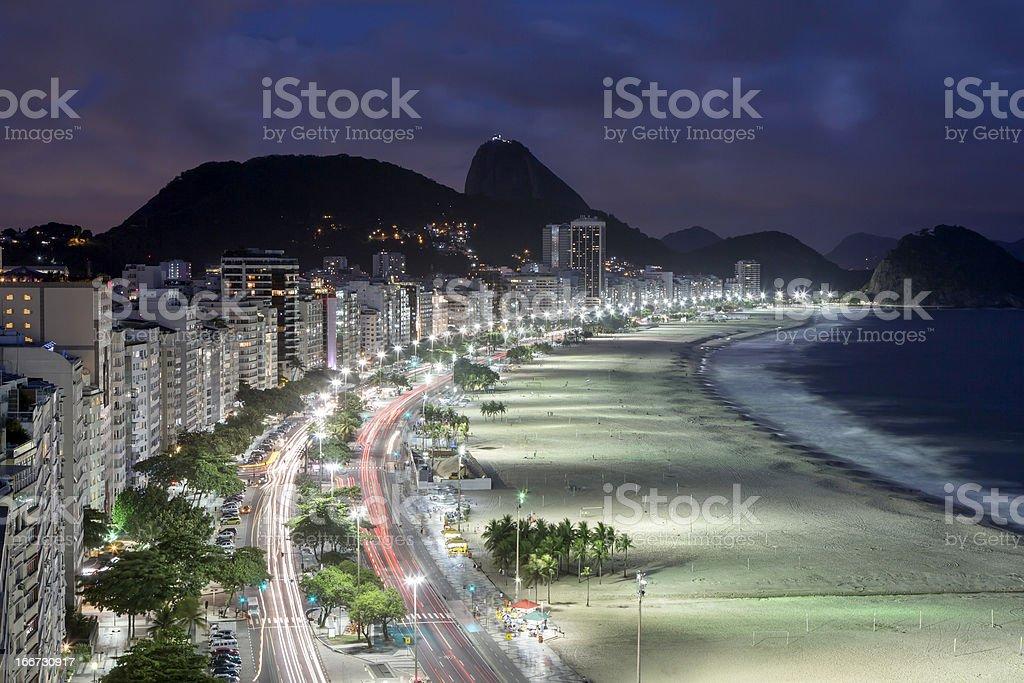 Copacabana Beach at night royalty-free stock photo