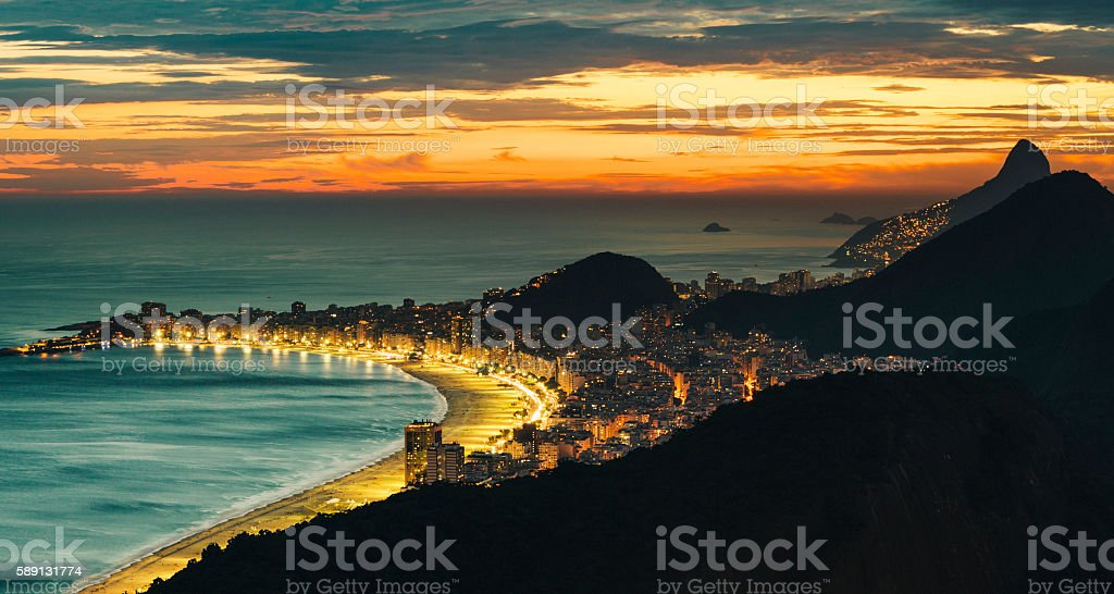 Copacabana beach at night, Rio De Janeiro, Brazil stock photo