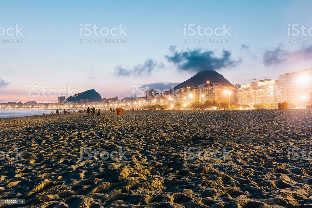Copacabana Beach at night, Rio de Janeiro stock photo